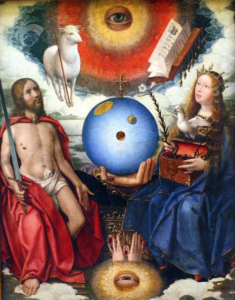 Jan Provoost's Allegory of Christianity. A renaissance painting with a man holding a sword and a woman with a chest of jewels, a hand between them holds a globe, above them a sheep carries a cross and an eye emerges from the clouds. Below them, an eye and two hands emerge.